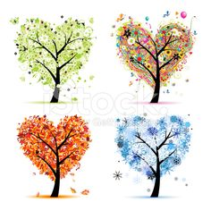 Art trees love collection for your design, four seasons royalty-free stock vector art