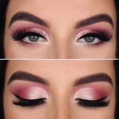 22 Sexy Eye Makeup Tutorial Ideas For Valentines Day - Hey-Cinderella Sexy Eye Makeup, Makeup Eye Looks, Pink Eye Makeup, Eye Makeup Steps, Beautiful Eye Makeup, Makeup For Green Eyes, Eyeshadow Looks, Eyeshadow Makeup Tutorial, Emo Makeup Tutorial