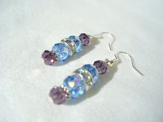 Sterling Silver Swarovski Earrings Aubergine Ocean by tigger2day, $16.95
