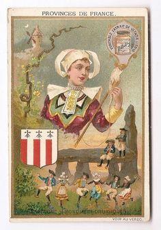 Bretagne - Monument druidique - Province de France - Chromo Liebig - Trade Card