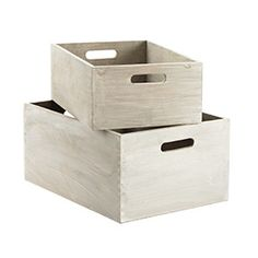 The Container Store > Whitewashed Wood Bins  Ideas, ideas. Something to use on shelves in place of drawers? I am so ready to get rid of the cheap chest of drawers.