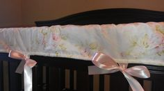 Shabby Chic Rose and Light Pink Minky Dot Crib Long Rail Guard on Etsy, $35.00
