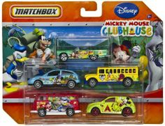 Matchbox Disney Mickey Mouse Clubhouse 5 Pack Cars by Mattel. $20.77. Each vehicle is themed with characters from the Playhouse Disney TV show Mickey Mouse Clubhouse. Drive with your friends!. Age 3+. This is a set of 5 different Matchbox vehicles. Push vehicles. This is a set of 5 different Matchbox vehicles that are metal die cast push vehicles.  Each vehicle features one or more characters from the Playhouse Disney TV show Mickey Mouse Clubhouse.  The green convertible, ...