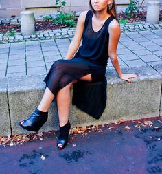 Street fashion Black dress, Zara style