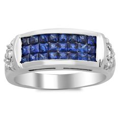 Artistry Collections 14k White Gold Blue Sapphire and 2/5 ct TDW White Diamond and 1 1/5 ct Sapphire Ring (E-F, SI1-SI2) (White Gold Size 5.5), Women's