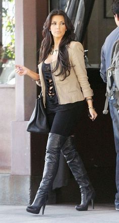 Who made Kim Kardashian's black thigh high boots and jacket that she wore in West Hollywood on June 17, 2010? Shoes – Report Signature  Jacket – Elizabeth  James