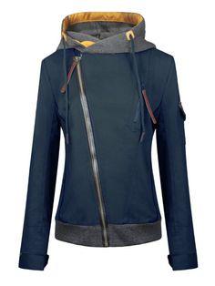 Womens Diagonal Zip Up Front Hood Jacket