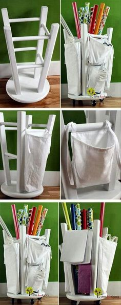 upside down stool for craft storage