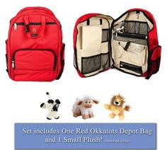 Okkatots Travel Baby Depot Diaper Bag Backpack & BONUS Small Plush Toy (Non-Personalized, Red)