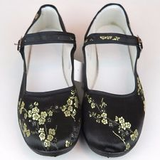 Women's Chinese Mary Jane Floral Brocade Shoes Black & Gold Sizes 5 - 10 New