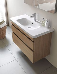 Furniture from Duravit have the right balance of quality and style. Duravit DuraStyle White Matt Vanity Unit With Basin now available on-line. Basin Vanity Unit, Bathroom Vanity Units, Wall Mounted Bathroom Sinks, Wall Mounted Vanity, Single Bathroom Vanity, Bathroom Furniture, Modern Bathroom, Small Bathroom, Bathroom Vanities