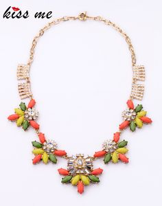 Fashion  accessories candy multicolour gem all-match necklace Factory Wholesale