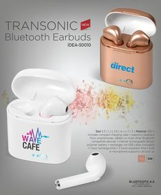 Transonic Bluetooth Earbuds from Best Branding South Africa Item includes pad print. Battery Lights, Solar Battery, Promo Gifts, Diy Store, South Africa, Cell Phone Accessories, Bluetooth, Smartphone, Usb