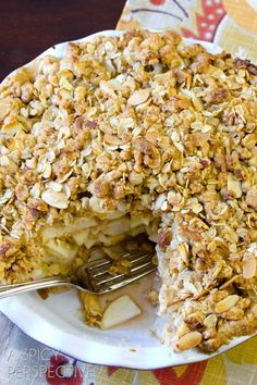 Dutch Apple Pie With Boozy Oatmeal Crust and Almond, Oats & Cinnamon Crumble