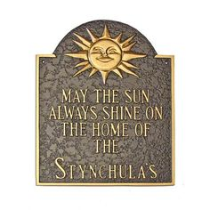 Montague Metal Products Home of Sunshine Address Plaque Finish: Sea Blue / Gold, Mounting: Lawn