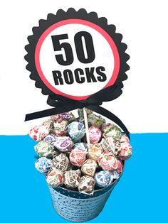 Birthday Topper Cake Decoration, 50 ROCKS, Candy Pick, Red, White and Black or Your Choice of Colors by CarasScrapNStampArt on Etsy 50th Birthday Party Decorations, Cake Toppers, Cake Decorating, Rocks, September, Candy, Unique Jewelry, Colors, Handmade Gifts
