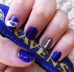 #NFL Nails from @MiscManis. Rockin' the #Ravens themed nails. Go girl. #NailArt @birchbox @selfmagazine