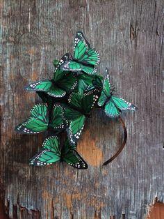 Emerald Green Monarch Butterfly Fascinator by VivaDelfina on Etsy