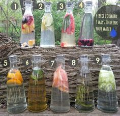 9 Ways to Infuse your Water Fruit Medley Citrus Blend Watermelon and Basil Berry blend Orange Green tea and mint Grapefruit Rosemary infused Cucumber Smoothies, Smoothie Drinks, Detox Drinks, Fun Drinks, Yummy Drinks, Healthy Drinks, Healthy Recipes, Juice Recipes, Tea Recipes