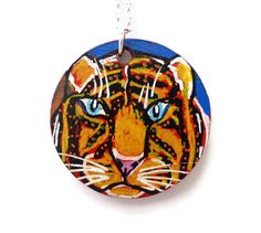Tiger Necklace, Hand Painted Jewellery, Painted Jewelry, Tiger Jewelry, Animal Necklace, Statement Necklace, Christmas Gift, Unique Necklace by Larryware on Etsy
