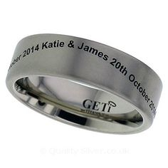 Geti Flat Titanium Ring With Your Waved Engraving | 2226ENGW.