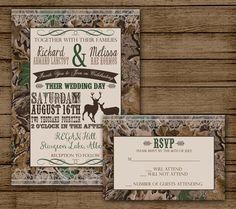 Camo Wedding Invitation With RSVP, Camo Invite, Deer Invitation, Redneck  Wedding, Camo Bridal Shower, Digital File Printable DIY 5x7
