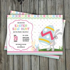 Easter Egg Hunt Invitation Template | Easter Party Flyer | Easter Invitation Card |  Instant Download by TemplateStock on Etsy