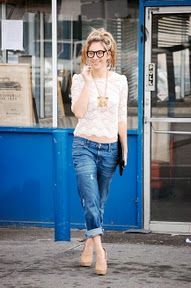 effortless - i love the lace and boyfriend jeans (glasses too!)
