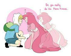Adventure Time Tumblr, Adventure Time Finn, Cartoon Network Adventure Time, Adventure Time Flame Princess, Adventure Time Princesses, Fin And Jack, Dreamworks, Finn And Princess Bubblegum, Princesse Chewing-gum