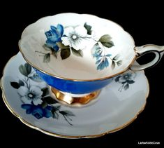 Royal Stafford Sky Blue Teacup and Saucer Wide Mouth Fancy Blue Rose Tea Cup Set