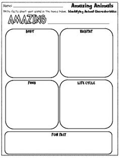 animal research report graphic organizer - great for non-fiction writing. end of animal unit project First Grade Science, Kindergarten Science, Elementary Science, Science Classroom, Teaching Science, School Classroom, Classroom Ideas, Teaching Writing, Writing Activities