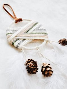 Items similar to Winter Cabin Boho Christmas Decoration in Evergreen - Modern Christmas Dream Catcher Wall Hanging - Creative Christmas Gifts for Friends on Etsy Nordic Christmas Decorations, Christmas Ornament Sets, Noel Christmas, Christmas Design, Homemade Christmas, Christmas Crafts, Christmas Tables, Purple Christmas, Xmas