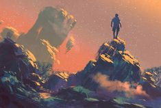 man standing on top of the hill watching the stars,illustration digital painting Street Design, Fantasy Books To Read, Star Illustration, Fantasy Paintings, Man Standing, Poses, Tag Art, Deco, Science Fiction