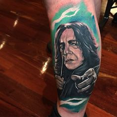 Severus Snape is a popular subject for Harry Potter fans tattoos. Here,  by Benjamin Laukis.