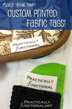 Make your own custom printed fabric tags with fabric, a printer, and some vinegar. May work for quilt labels. Quilt Labels, Fabric Labels, Fabric Tags, Quilting Tips, Quilting Tutorials, Sewing Tutorials, Fabric Crafts, Sewing Crafts, Sewing Projects