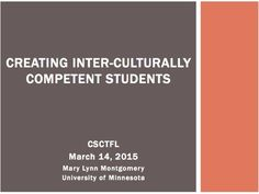 Creating inter-culturally competent students  (Presenter: Mary Lynn Montgomery)