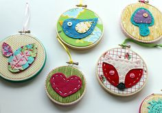 New! Framed Embroidery Hoop Wall Art Felt & Fabric Hearts Birds Fox Cute  by lova revolutionary, via Flickr