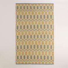 Yellow and Gray Geo Bethari Indoor-Outdoor Rug | World Market