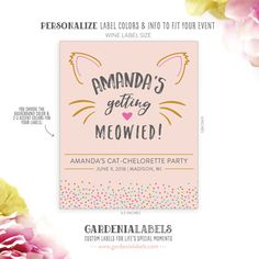 Getting Meowied Wine Label Cat Lady Champagne by GardeniaLabels