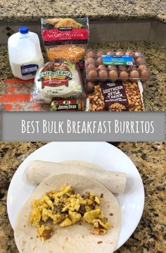 A quick and easy bulk breakfast burrito recipe. These are perfect for freezer meals. Delicious and hearty burritos! Bulking Meals, Recipe Ingredients List, Freezer Breakfast Burritos, Bulk Food, Bulk Cooking, Love Eat, The Ranch, Best Breakfast, Freezer Meals