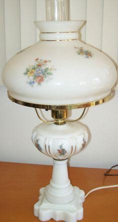 Vintage Milk-Glass Hurricane Lamp / Three Way Light with Floral Design - Pretty!