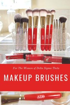 Makeup Brushes made exclusively for the Ladies of Delta Sigma Theta Sorority Geek Jewelry, Jewelry Accessories, Fashion Jewelry, Delta Sigma Theta Apparel, Theta Crafts, Steampunk Makeup, Delta Girl, Gifts For My Wife, Elephant Figurines