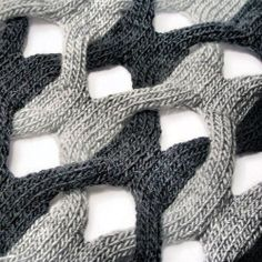 A cheeky peep at the delicious structural knit by Cari+Carl - gorgeous statement scarves & shawls by Cari Morton - snug_gallery Knitting Designs, Knitting Stitches, Knitting Yarn, Knitting Projects, Hand Knitting, Stitch Patterns, Knitting Patterns, Fabric Manipulation, Textile Design
