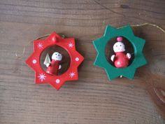Vintage Wooden Angel in Star Christmas Ornaments Red by jessamyjay, $7.50