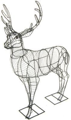 Topiary Deer Create a stunning garden feature with this fantastic wire-frame deer! You can decorate it with fairy lights for a These 3 dimensional, hand crafted, one o Chicken Wire Art, Chicken Wire Sculpture, Chicken Wire Crafts, Christmas Deer Decorations, Christmas Crafts, Christmas Topiary, Outdoor Christmas, Christmas Christmas, Willow Weaving
