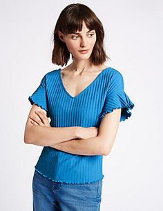 Cotton Rich Ribbed Frill Sleeve T-Shirt