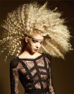 Big curly blonde hair