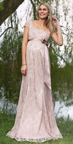 Eva Lace Maternity Gown (Antique Rose) - Maternity Wedding Dresses, Evening Wear and Party Clothes by Tiffany Rose Maternity Gowns, Maternity Fashion, Maternity Wedding, Pregnancy Dress, White Maxi Dresses, Prom Dresses, Formal Dresses, Wedding Dresses, Bridesmaid Dress
