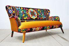 Suzani 3-seater sofa - honey mustard