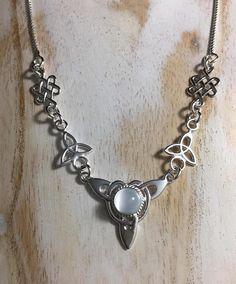 Statement Necklace Renaissance Celtic Necklace with 10x8mm oval Lab Sapphire OOAK Celtic Jewelry Sterling Silver Handmade